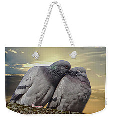 Pigeons In Love, Smooching On A Branch At Sunset Weekender Tote Bag