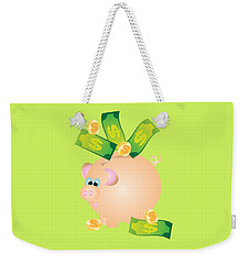 Piggy Bank With Bills And Coins Illustration Weekender Tote Bag