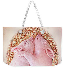 Weekender Tote Bag featuring the photograph Piglet Love by Jennie Marie Schell