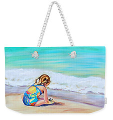 Weekender Tote Bag featuring the painting Pigtail Cutie by Patricia Piffath
