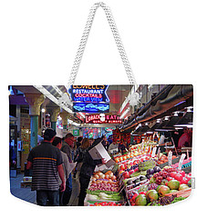 Weekender Tote Bag featuring the photograph Pike Market Fruit Stand by Walter Fahmy