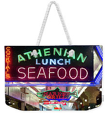 Pike Street Market Neon, Seattle Weekender Tote Bag by Greg Sigrist