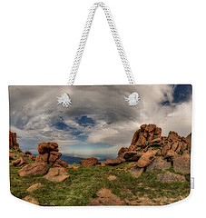 Weekender Tote Bag featuring the photograph Pikes Peak Panorama by Chris Bordeleau
