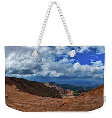Weekender Tote Bag featuring the photograph Pikes Peak Summit Vista #1 by Chris Bordeleau