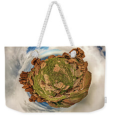 Weekender Tote Bag featuring the photograph Pikes Peak Tiny Planet #2 by Chris Bordeleau