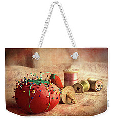 Pin Cushion And Wooden Thread Spools Weekender Tote Bag