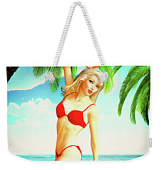 Pin-up Beach Blonde In Red Bikini Weekender Tote Bag