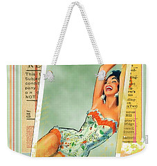 Pin Up Girl Square Weekender Tote Bag by Edward Fielding
