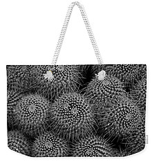 Weekender Tote Bag featuring the photograph Pincushion Cactus In Black And White by Michiale Schneider