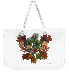 Weekender Tote Bag featuring the digital art Pine And Leaf Bouquet by Lise Winne