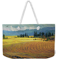 Weekender Tote Bag featuring the painting Pine Grove by Steve Henderson