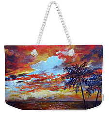 Weekender Tote Bag featuring the painting Pine Island Sunset by Lou Ann Bagnall