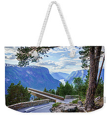 Weekender Tote Bag featuring the photograph Pine On Stegastein by Dmytro Korol
