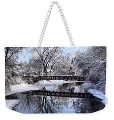Pine River Foot Bridge From Superior In Winter Weekender Tote Bag