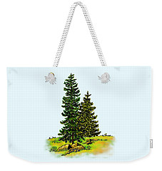 Pine Tree Nature Watercolor Ink Image 2b        Weekender Tote Bag