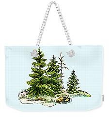 Pine Tree Watercolor Ink Image I         Weekender Tote Bag