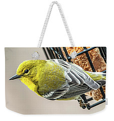 Pine Warbler On Feeder Weekender Tote Bag by Jim Moore