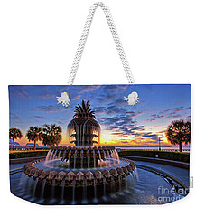 The Pineapple Fountain At Sunrise In Charleston, South Carolina, Usa Weekender Tote Bag