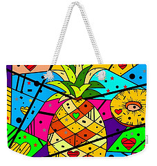 Weekender Tote Bag featuring the digital art Pineapple Popart By Nico Bielow by Nico Bielow