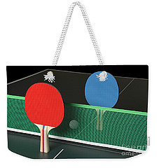 Ping Pong Paddles On Table, Standing Upright Weekender Tote Bag