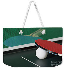 Ping Pong Paddles On Table With Net Weekender Tote Bag