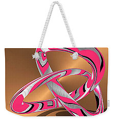 Pink Abstract On Gold Weekender Tote Bag
