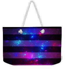 Pink And Blue Striped Galaxy Weekender Tote Bag