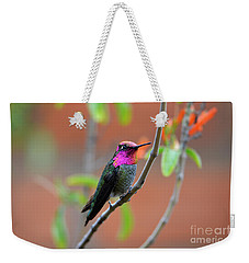 Pink And Gold Anna's Hummingbird Weekender Tote Bag