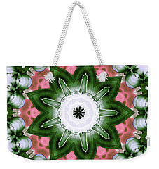 Weekender Tote Bag featuring the digital art Pink And Green Floral by Shawna Rowe