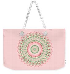 Pink And Green Mandala Fractal 004 Weekender Tote Bag