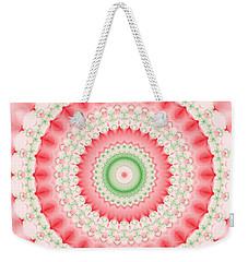 Pink And Green Mandala Fractal Weekender Tote Bag