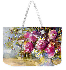 Pink And Navy Weekender Tote Bag by Judith Levins