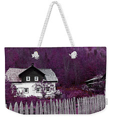 Weekender Tote Bag featuring the photograph Pink And Purple Enchanted Cottage by Brooke T Ryan