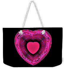 Weekender Tote Bag featuring the digital art Pink And Red Heart On Black by Matthias Hauser