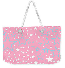Pink And Turquoise Stars 1 Weekender Tote Bag by Linda Velasquez