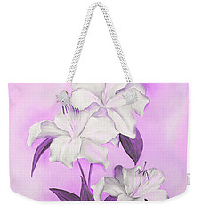 Weekender Tote Bag featuring the mixed media Pink And White by Elizabeth Lock
