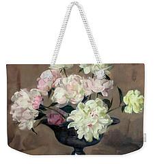 Pink And White Peonies In Footed Silver Bowl Weekender Tote Bag