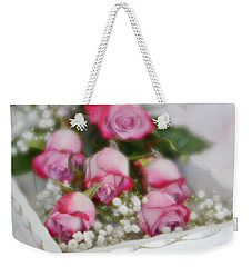 Pink And White Roses In White Box 2 Weekender Tote Bag by Diane Alexander