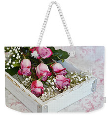 Pink And White Roses In White Box Weekender Tote Bag by Diane Alexander