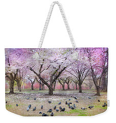 Weekender Tote Bag featuring the photograph Pink And White Spring Blossoms - Boston Common by Joann Vitali