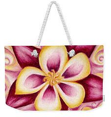 Pink And Yellow Columbine Flower Drawing Weekender Tote Bag
