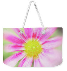 Pink Aster Flower With Raindrops Abstract Weekender Tote Bag