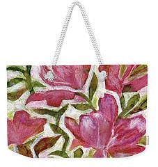 Weekender Tote Bag featuring the painting Pink Azaleas by Julie Maas