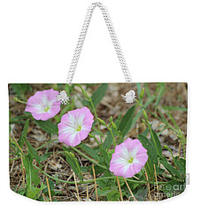 Weekender Tote Bag featuring the photograph Pink Bindweed by Ann E Robson