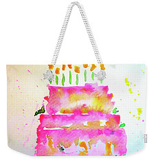 Weekender Tote Bag featuring the painting Pink Birthday Cake by Claire Bull