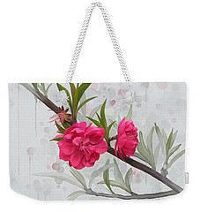 Weekender Tote Bag featuring the painting Hot Pink Blossom by Ivana Westin