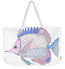 Pink Blue Fish Weekender Tote Bag