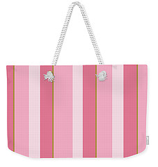Weekender Tote Bag featuring the mixed media Pink Blush Stripe Pattern by Christina Rollo