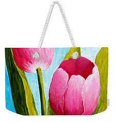 Pink Bubblegum Tulip II Weekender Tote Bag by Phyllis Howard