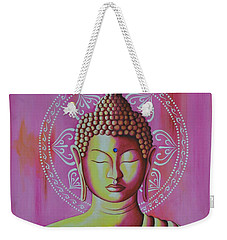 Weekender Tote Bag featuring the painting Pink Buddha by Joseph Sonday
